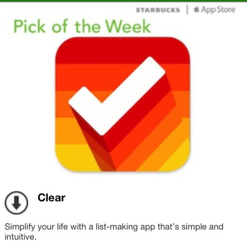 Starbucks iTunes Pick of the Week - Clear