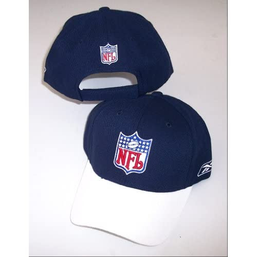 Amazon.com : NFL Shield Logo Hat Cap Adjustable Structured Authentic NEW White / Navy : Sports