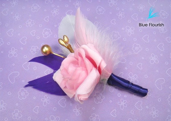 Wedding boutonnieres feather pink rose offbeat purple unique gold