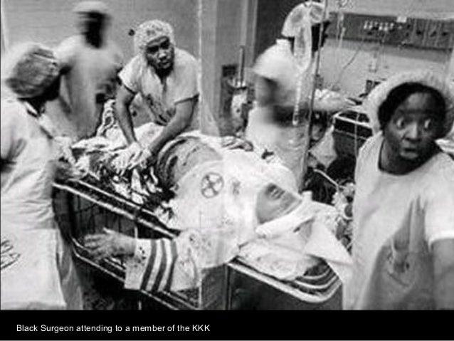 Fototecas y archivos fotográficos para investigación histórica - Equipo médico formado por personas de raza negra atendiendo a un miembro del KKK.
