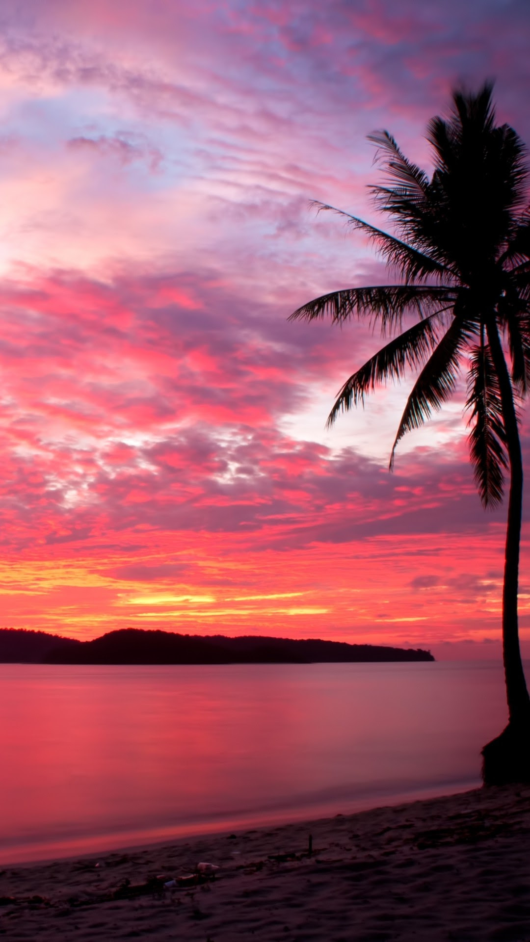 Download 1080x1920 Malaysia, Sunset, Beach, Palms, Island ...