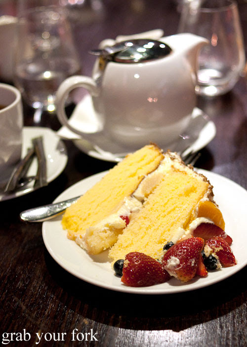 Homemade vanilla chiffon cake with cream and fruit by Chocolatesuze