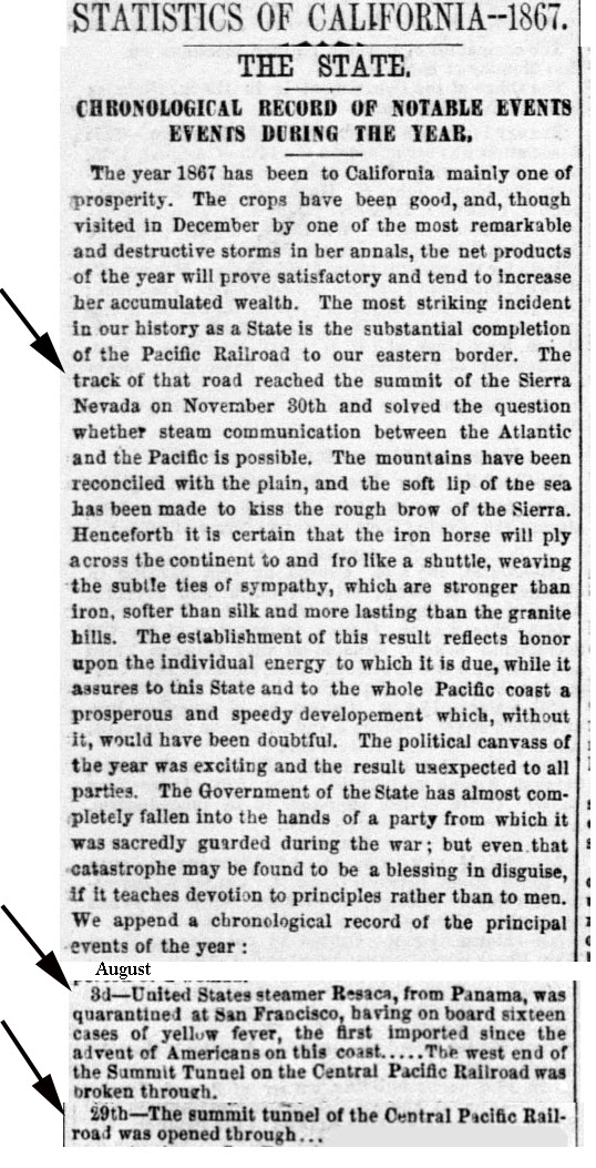 1867 Summit Tunnel Dates - Sacramento Daily Union, Volume 34, Number 5230, 1 January 1868