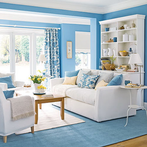 Bringing Blue in the Living Room | Interior Design Ideas