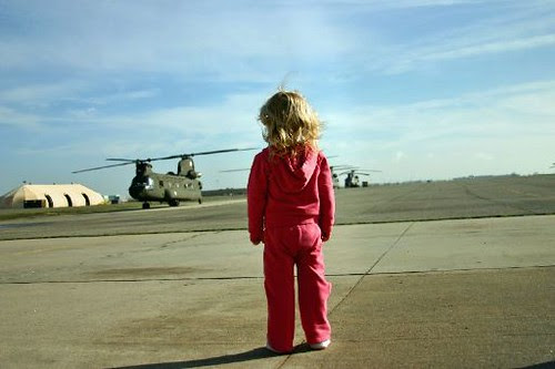 Young girl and helicopters