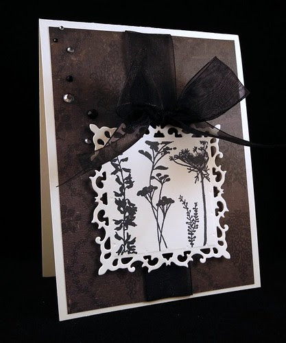 Floral Black and White Card