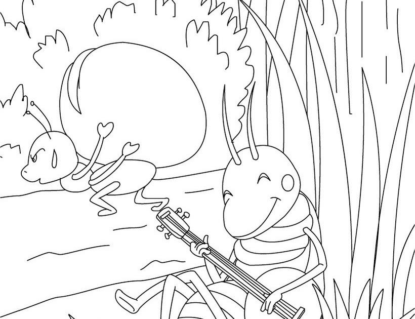 Coloriage204: coloriage la cigale et la fourmi