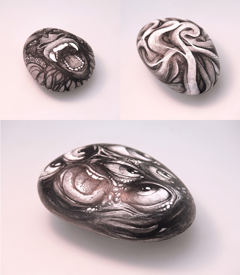 Stones & Bones: Illustrations on Rocks and Skulls by DZO skulls rocks illustration