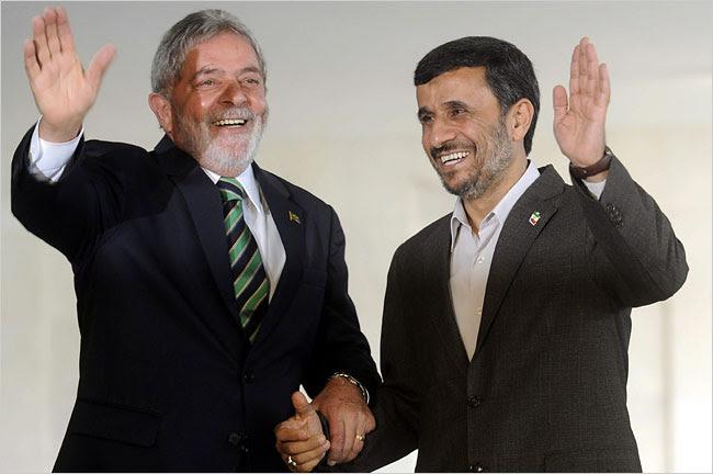 Lula e Mahmoud Ahmadinejad, ditador do Irã