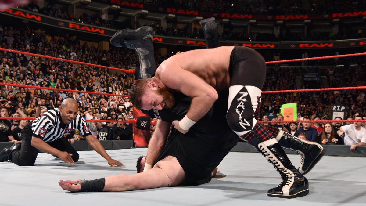 Zayn rolls up Owens to score the victory, save his job on Raw and clinch a spot in the Andre the Giant Memorial Battle Royal.