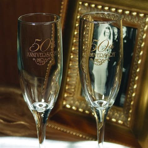 Engraved 50th Anniversary Toasting Flutes Set   50th