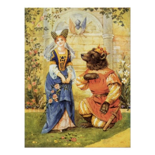Vintage Fairy Tale, Beauty and the Beast Poster | Zazzle