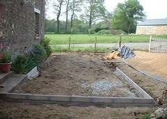 New patio and driveway during construction