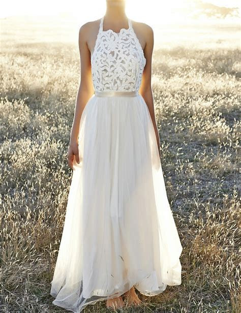 Simple Halter A Line Vestido de Noiva sexy Backless