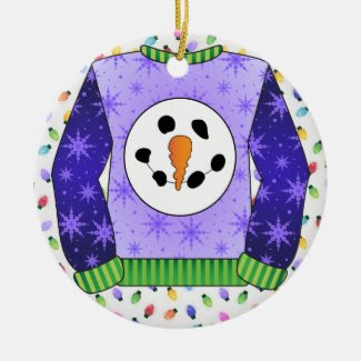 Ugly Christmas Sweater Snowman 1 Purples Double-Sided Ceramic Round Christmas Ornament
