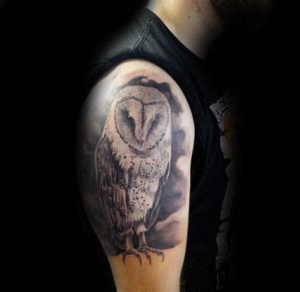 60 Barn Owl Tattoo Designs For Men Lunar Creature Ink Ideas