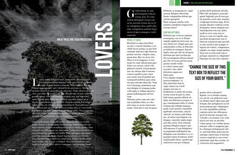 Dark Trees Magazine Layout   Free InDesign Template!