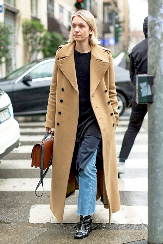 Le Fashion Blog Street Style Long Camel Coat Layered Tunics Light Wash Frayed Hem Jeans Gucci Boots Via Harpers Bazaar