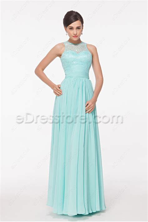 Modest Lace Chiffon Light Blue Long Prom Dress Key Hole Back