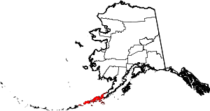 Map of Alaska highlighting Aleutians East Borough