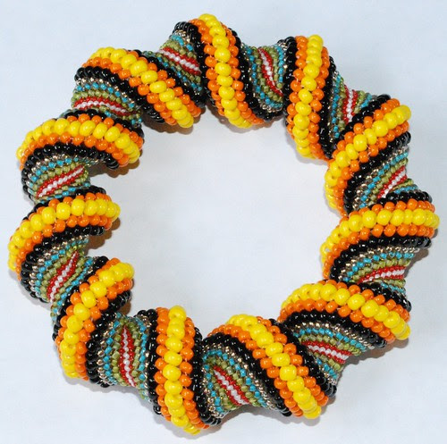 Multi Color Spiral Tubular Peyote Stitch Bracelet