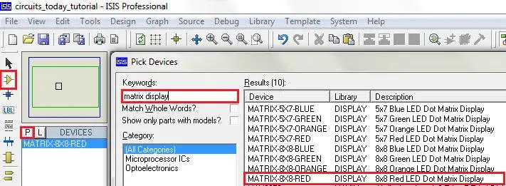 Selecting 8X8 Matrix in Proteus