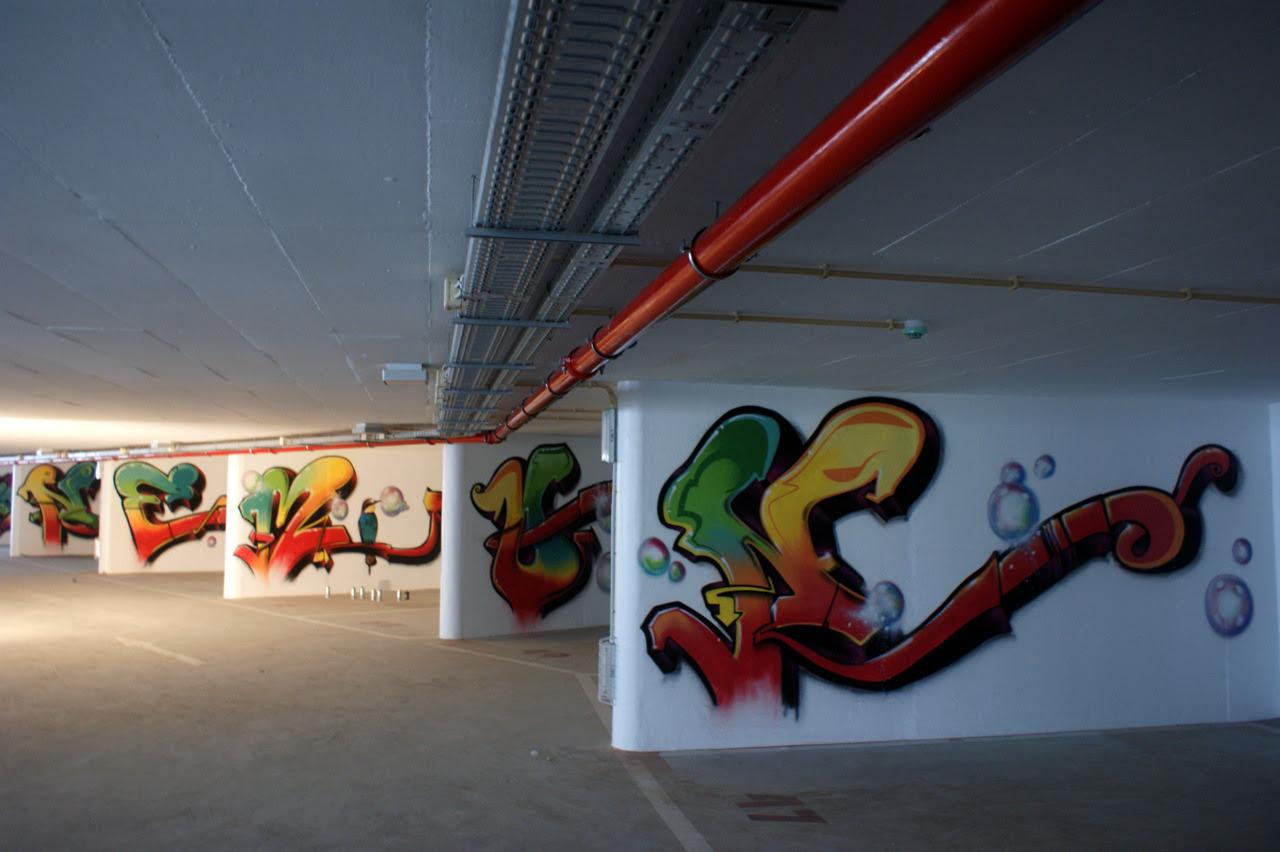 Obra efectuada no parque de estacionamento EMEL,Chão do Loureiro , Alfama. Intervenção em todo o Piso 2. Nomen 2011.