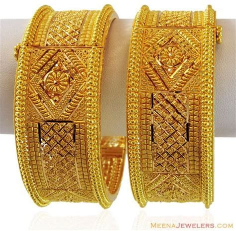 Beautiful Gold Indian Kada (2PC)   AjBa60032   22k