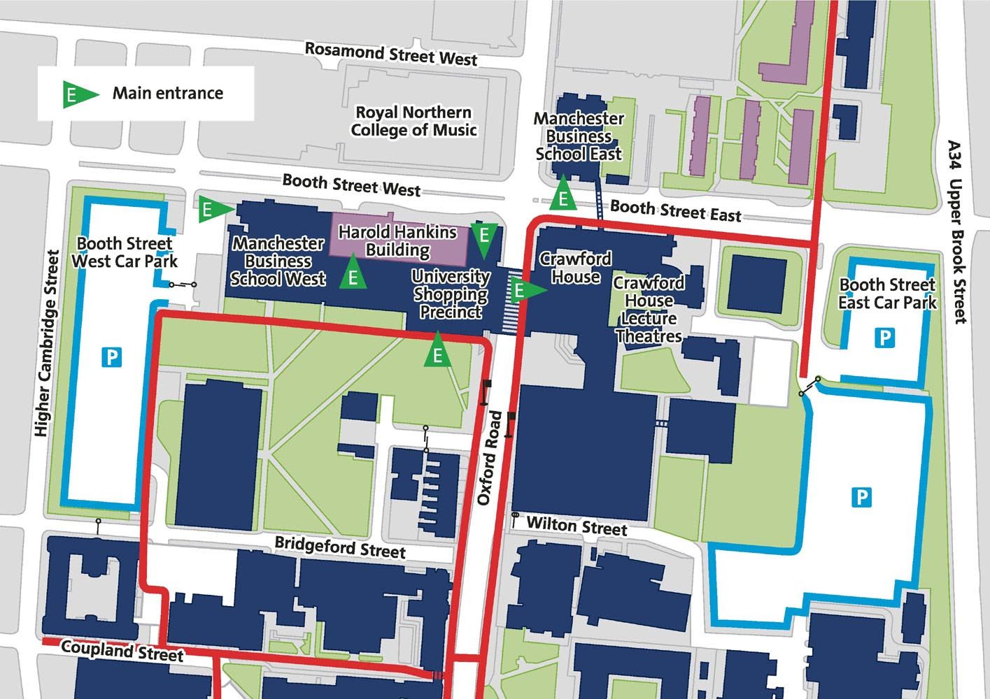Manchester University Campus Map Manc Uni Campus Map | Map Of Us Western States