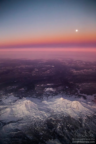 Three Sisters and Full Moon, Aerial View, Oregon