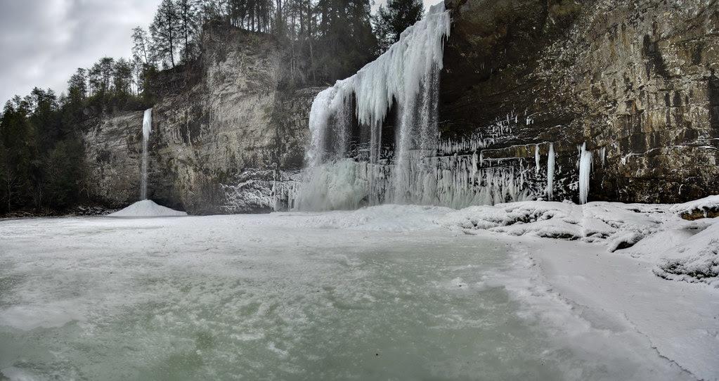 Rockhouse Falls and Cane Creek Falls frozen detail 5, Fall Creek Falls State Park, Van Buren County, Tennessee