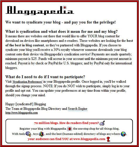 2009-June-9 Bloggapedia Syndication Message