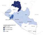 Thumbnail of Counties in Liberia reporting Ebola virus disease cases as of August 15, 2014. Star indicates the capital city, Monrovia.