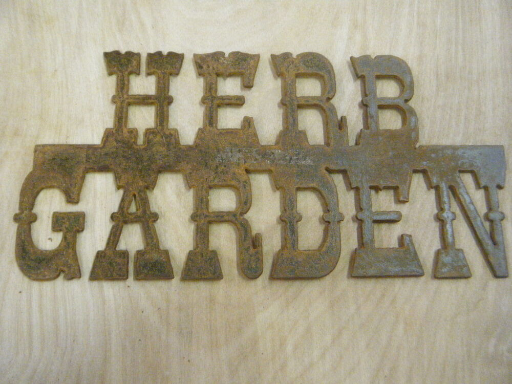 garden  Sign Garden Metal Wall rustic sign Free Rustic  Rusted Herb Hanging Shipping eBay