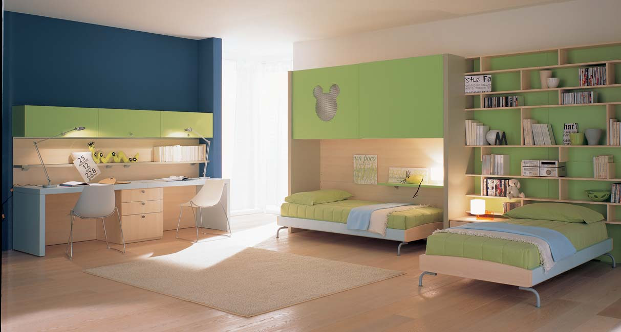 Nice Blue Green Kids Bedroom