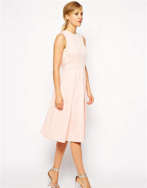 lyst asos pleated skater midi dress  cut