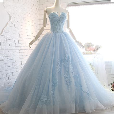 Real Image Strapless Light Blue Wedding Gown Top Appliques