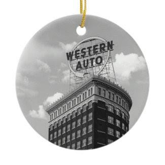 Western Auto Half Cylinder Building Ornament