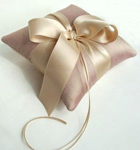 Image of Plain and Simple Lavender Champagne Silk Dupioni Luxe Ring Bearer Pillow