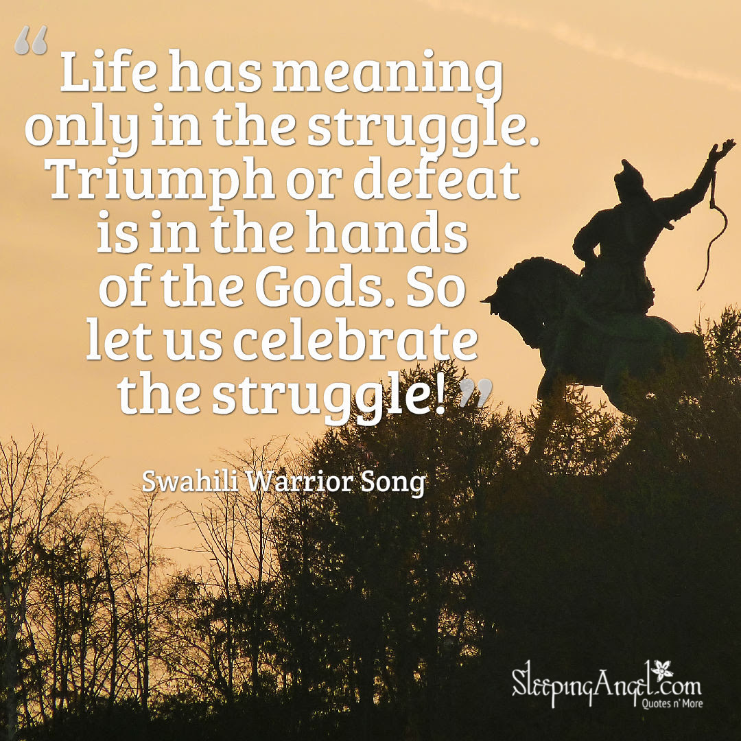 Life Has Meaning In Struggle Quote Sleeping Angel