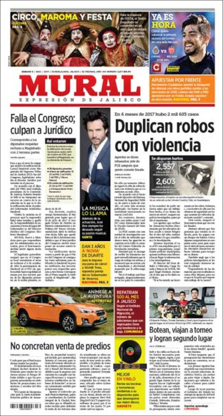 Newspaper El Mural Mexico Newspapers In Mexico Saturday S