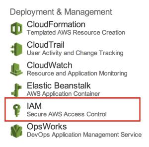 AWS Management ConsoleからIAM に入る部分
