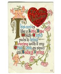 Victorian style Valentine's Day postcard