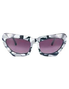 Image 2 of ASOS Monochrome Extreme Cat Eye Sunglasses