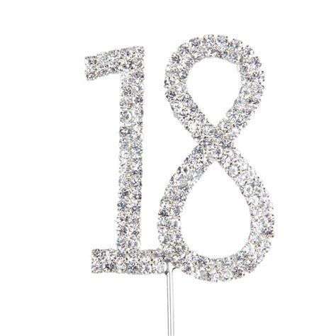 New Unique Diamante Dual Numeral 18 Monogram Cake Toppers