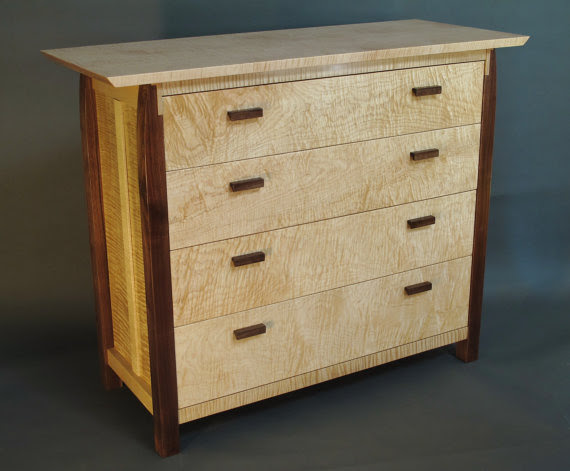 Modern Wood Four Drawer Dresser. Chest of drawers for bedroom