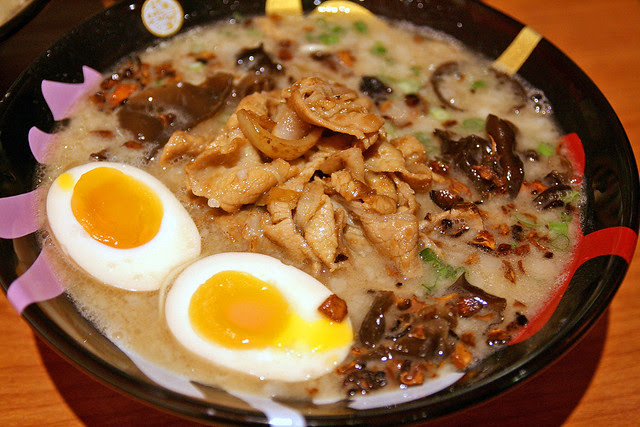 The Ramen King bowl has buta shogayaki for a topping