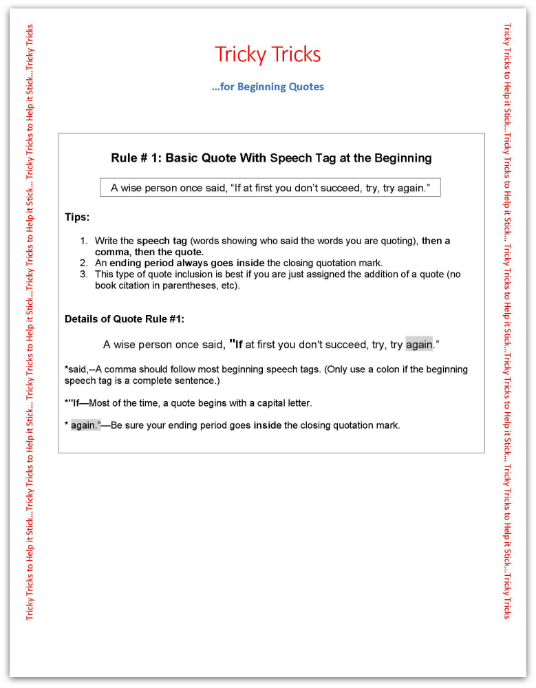 Teaching Beginning Quotation Use Tricky Trick Download Included