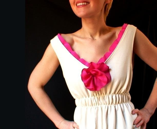 The FUSCHIA FLOWER DRESS - ivory bamboo /cashmere/ gemstones