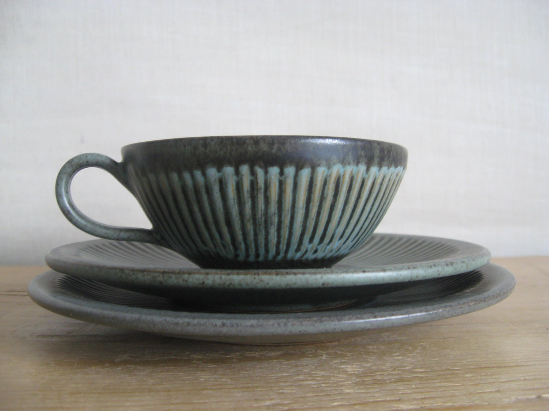 Løvemose Denmark - tea trio - cup & saucer and tea plate - midcentury - danishmood